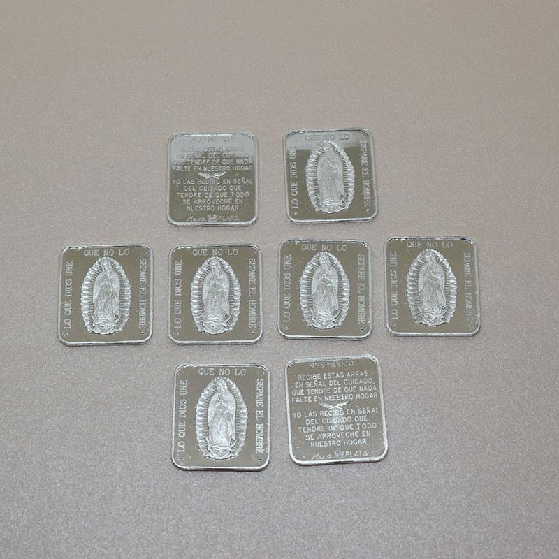 """Arras de Boda """"Virgen""""Cuadradas 17 mm plata .999"""