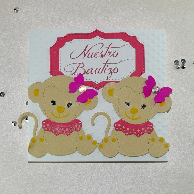 """Invitación para Bautizo o Baby Shower """"Gemelitas"""" niñas."""