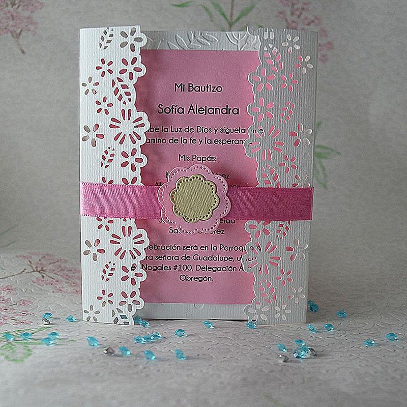"""Invitación para Bautizo """"Floral"""" rosa"""