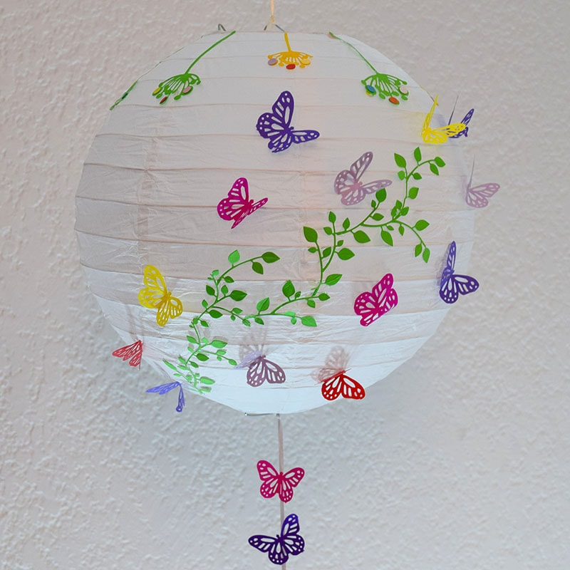 "Lámpara China decorada ""Mariposas"""